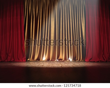 Theater Show stage red and golden curtains with Spotlight
