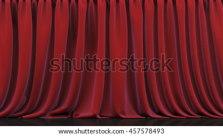 Theater stage and red curtain. 3d render
