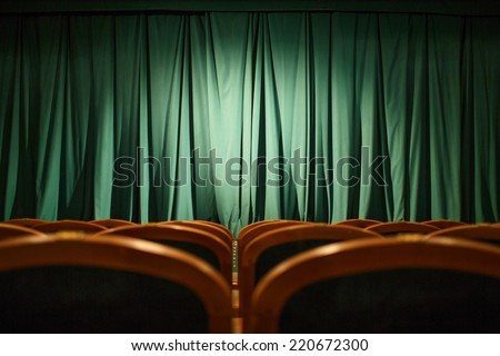 Theater stage green curtains - stock photo