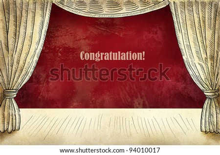 Theater stage with curtain and inscription Congatulations - stock photo