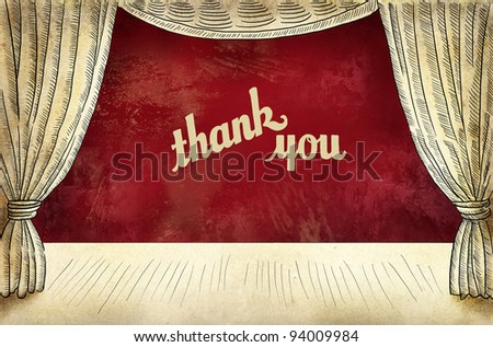 Theater stage with curtain and inscription Thanks - stock photo