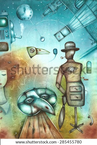 Theater stage with illustration - stock photo