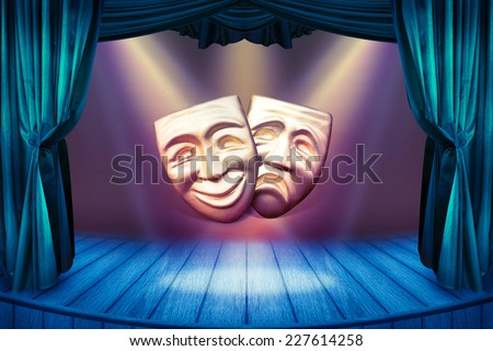 Theater stage with open curtains and spotlights. Vintage theatrical scene for your art concept with golden masks and searchlights. Theater poster with a masks for art performance. - stock photo