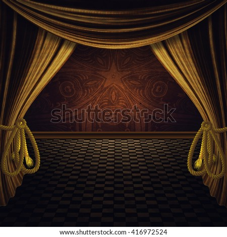 Theater stage with open golden curtain and floor.3d Illustration, not 3d render.