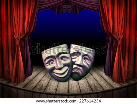 Theater stage with open red curtains. Art concept of theatrical classic design. Old theatrical scene - theater performance with masks.