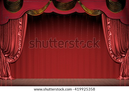Theater stage with red curtain (with clipping path). 3d illustration - stock photo