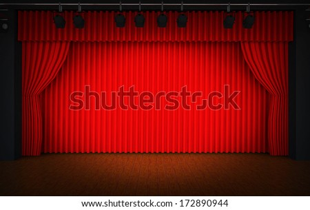 Theater stage with red curtains and spotlights  - stock photo