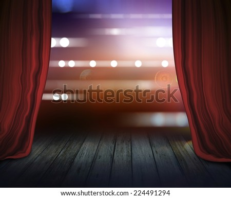 Theater stage with red curtains and spotlights. - stock photo