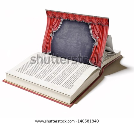 Theater stage with red curtains on the book page (illustrated concept) - stock photo