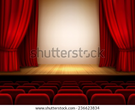 Theater stage with red velvet open retro style curtain background  illustration - stock photo