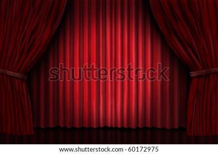 theater stage with spot light on red velvet curtain drapes