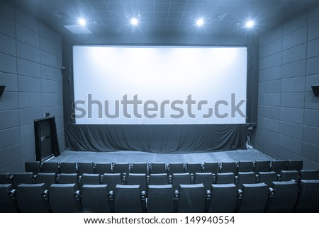 theater with big white screen - stock photo