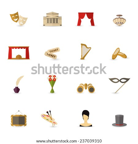 Theatre acting performance icons set flat isolated  illustration - stock photo
