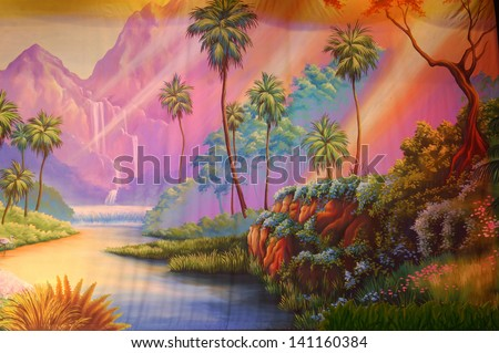 theatre backdrop featuring a peaceful forest - stock photo