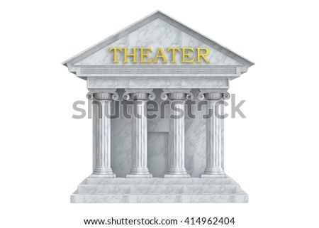 Theatre building with columns, 3D rendering