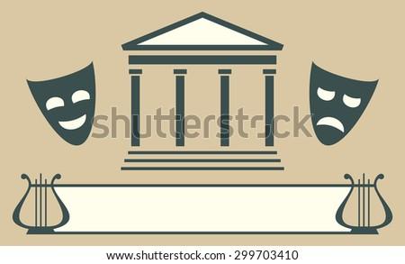 Theatre emblem - stock photo