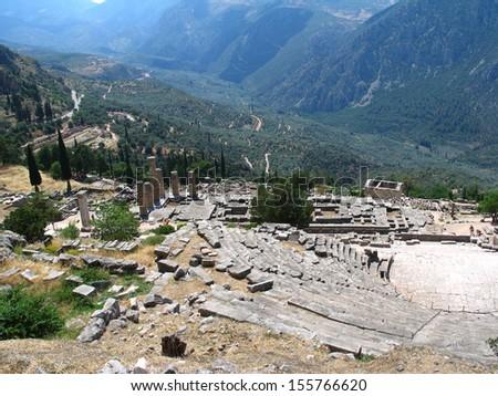 Theatre in temple of Delphi in Greece - stock photo