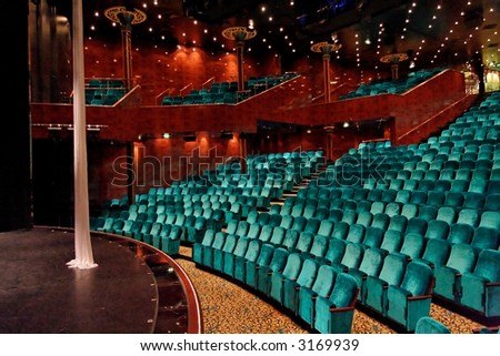 Theatre seats and stage - stock photo