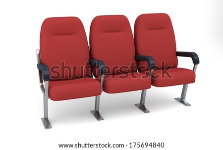 Theatre Seats Row Isolated, Clipping Path