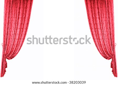 Theatrical curtain.Isolated on white - stock photo