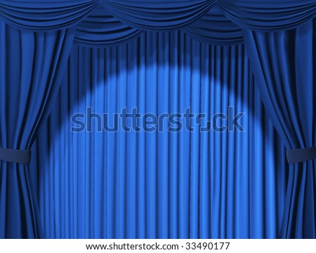 Theatrical curtain of blue color - stock photo