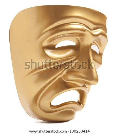 Theatrical mask isolated on a white background - stock photo