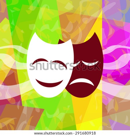 Theatrical masks on abstract background - stock photo