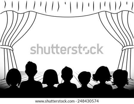 theatrical scene silhouettes of people monochrome - stock photo