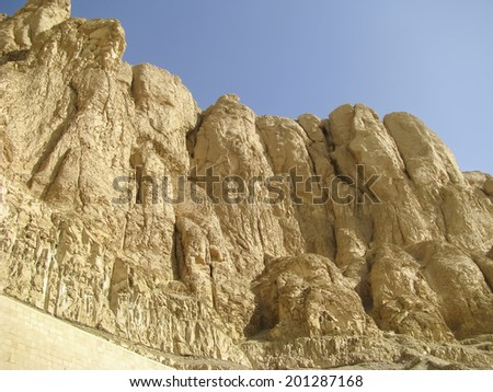 Theban mountain view from Deir el Bahari mortuary temple of Queen Hatshepsut - stock photo