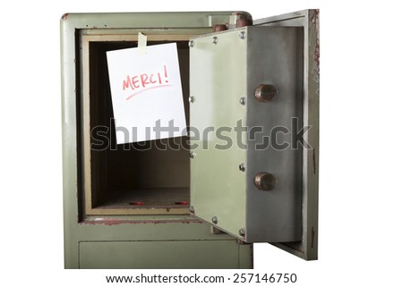 Theft. Domestic burglary. Safe box armoured emptied by thieves with message of thanks on paper: MERCI. Isolated on white - stock photo