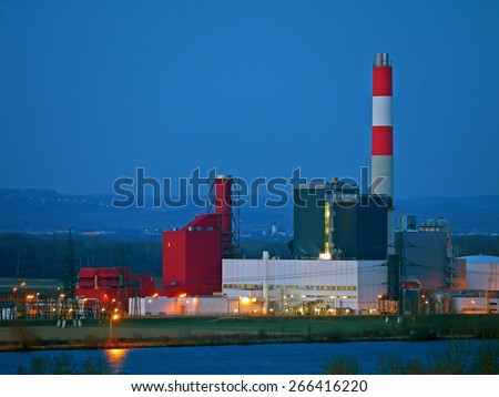 Theiss, AUSTRIA - 17  March 2015: The thermal power plant in Theiss, Lower Austria, is owned by the supplier EVN AG. It was activated in 1974. - stock photo