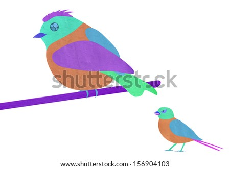 theme of the scissor-cut,Chinese element, for children--bird,emotion,talking