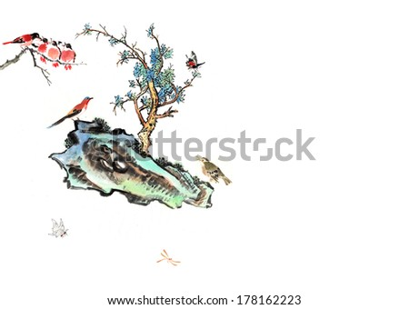 theme of traditional China--stone and tree,pine tree with bird and insect