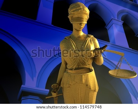 Themis in court - law abstract composition - stock photo