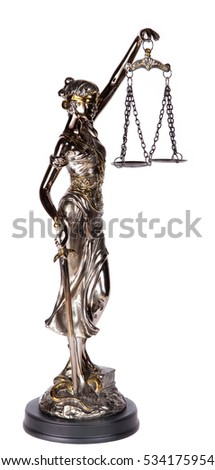 Themis, mythological Greek goddess, isolated over white background (souvenir)