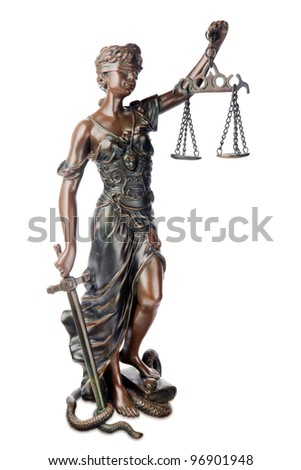 Themis, mythological Greek goddess, symbol of justice, blind and holding empty balance in one hand and sword in another, standing on defeated snake and book, isolated over white background - stock photo