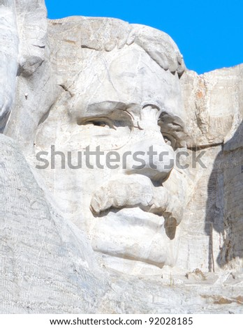 Theodore Roosevelt sculpture on Mount Rushmore National Memorial - stock photo