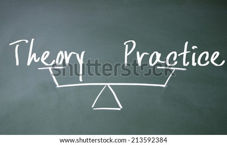 theory and practice balance sign - stock photo