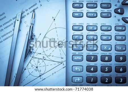 Theory of trigonometry with a compass and calculator - stock photo