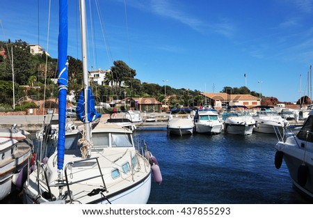 Theoule sur Mer, France - april 14 2016 : the marina