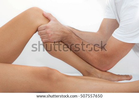 therapeutic leg massage rehabilitation treatment.