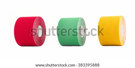 Therapeutic self adhesive tape for, aches and tension. It is also used for prevention and treatment in competitive sports. Isolated on white. - stock photo