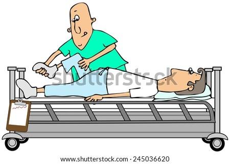 Therapist bending a patients knee - stock photo