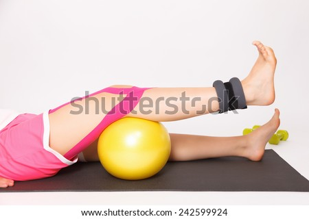 Therapy after knee injury - stock photo