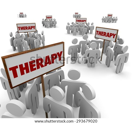 Therapy signs and patients gathered around them in group sessions to talk about problems or illness and cures or treatments - stock photo