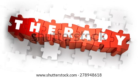 Therapy - White Word on Red Puzzles on White Background. 3D Illustration. - stock photo