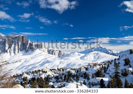 There are a lot of landmarks and view points on the slopes around Sella Ronda mountains. This place is placed in Val Gardena.