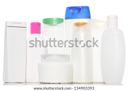there are a variety of shampoos and unique shape unique, isolated on white background