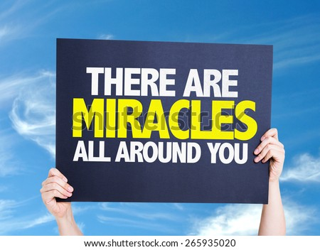 There Are Miracles All Around You card with sky background - stock photo