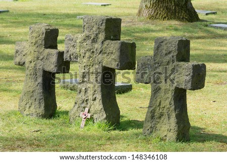 There are more than 44000 German dead buried here. During the First Battle of Ypres 1914 inexperienced German troops many students made a frontal attack against experienced British and French.  - stock photo